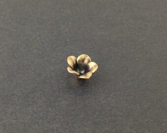 Brass Ox Flower Bud Bead Cap Finding (6) mtl303F