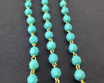 Turquoise Blue Faceted Czech Glass Bead Chain Raw Brass Links 6mm chn142