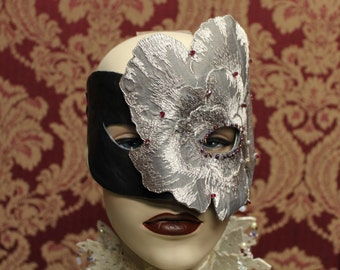 Leather and flower harlequin mask
