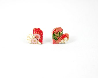 Pink, Red and White Origami Heart Post/ Stud Earrings