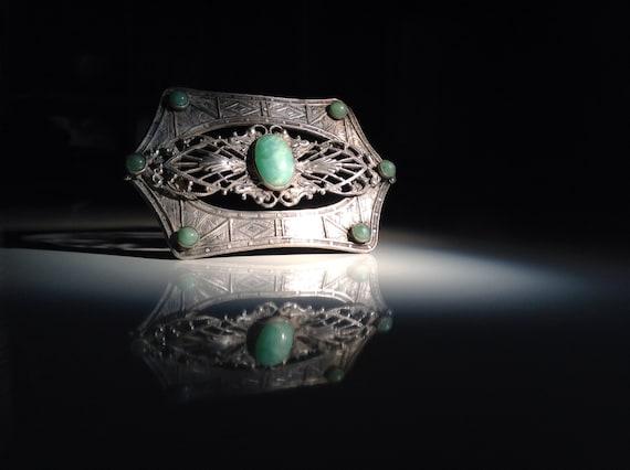 1910 Striking Sterling Silver Czech Glass Brooch - Orientalist after Neiger Brothers