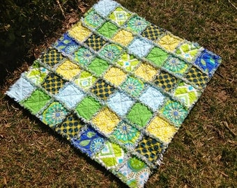 Flannel and Cotton Rag Quilt in Greens and Blues