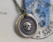 bronze skull wax seal necklace … es fui sum eris - you are as I have been - Latin motto antique wax seal jewelry