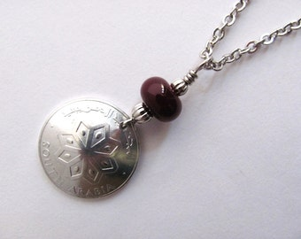 Coin Necklace South Arabia Vintage 1964 1 Fils Red Glass Bead Eco Friendly Pendant Wire Wrapped Jewelry by Hendywood