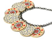 Moroccan Charm Necklace - Charm Necklace - Moroccan Necklace - Printed Necklace - Rhinestone Necklace - Colorful Necklace - Moroccan - Print