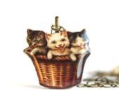 Kitten Pendant - Resin Kitten Necklace - Cat Necklace - Cat Pendant - Resin Cat Pendant - Cat Jewelry - Kittens in a Basket - Resin Jewelry