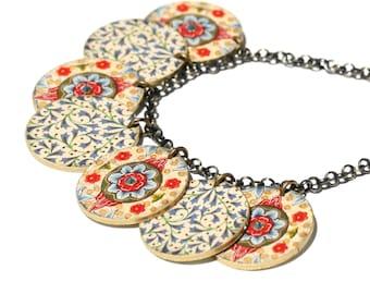 Encanto marroquí collar encanto collar collar marroquí marroquíes impresión Rhinestone collar colorido collar plástico del encogimiento Floral