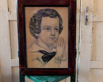 Antique Primitive Framed Print Under Glass - Praying Boy in Curls - Colonial Look - Angelic Face - Early 1900's