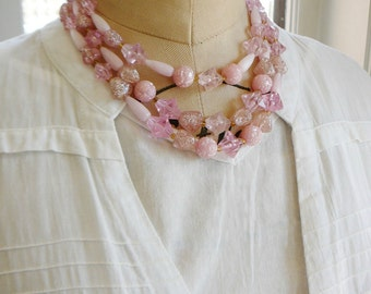 Vintage .. Bead Necklace, 3 Strand Pink Lucite, Cotton Candy Stars Sparkle Signed W Germany