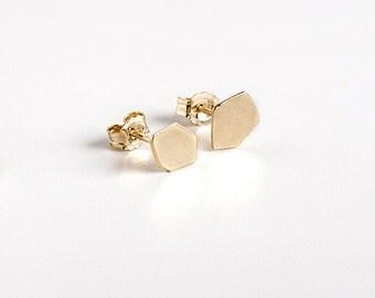 18K Gold Stud Earrings, 18K Gold Post Earrings, Solid Gold Stud Earring, Geometric Gold Stud Earrings, Gold Nugget Earrings
