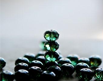 Rainforest Floor - Czech Glass Beads, Translucent Emerald Green, Picasso, Firepolish, Facet Rondelles 7x11mm - Pc 6