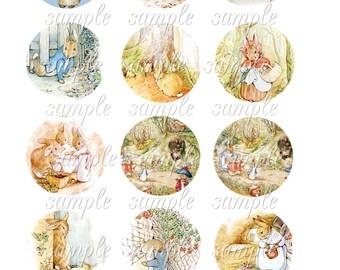 Instant Download - Peter Rabbit Circles - 2 inch Circles Printable Digital Collage Sheet - Digital Download