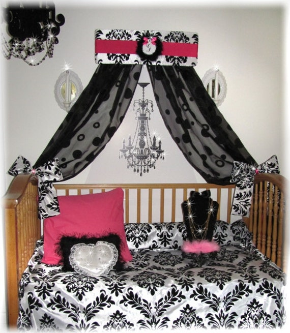 crib canopy crown bed damask paris bedroom decor cornice girls