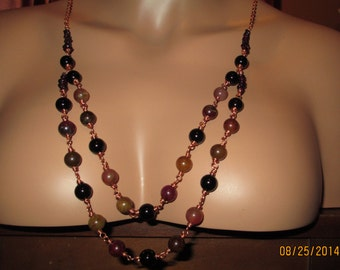 Solid Copper Wire Wrap Black Onyx, Mookanite, Garnet  & Rainbow Soocho Gemstone Beaded Necklace