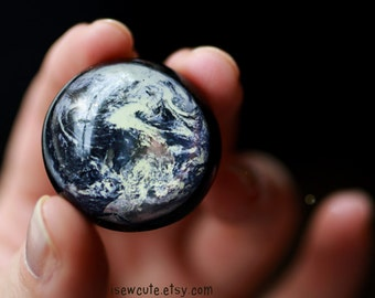 Earth Ring, Earth from Space Globe Ring Intergalactic Space Jewelry Out of this World Statement Ring Modern Resin Jewelry