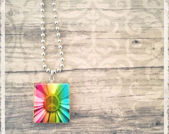 Daisy Necklace Pendant, Scrabble Tile Necklace, Rainbow Peace Daisy, Scrabble Tile Art Pendant, Daisy Charm, Gift for Her, Game Tile Jewelry