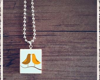 Scrabble Art Pendant - Beak To Beak - Scrabble Game Tile Jewelry - Customize - Choose Your Style