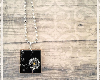 Dandelion Necklace, Scrabble Tile Necklace, Dandelion Pendant, Scrabble Jewelry Charm, Gift for Her, Friendship Jewelry, Black Dandelion