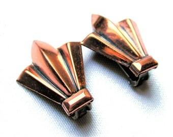 50s Renoir Copper Earrings, 1950s Modernist Copper Clip Earrings