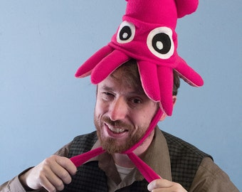 Small Fleece Squid Hat - Hot Pink