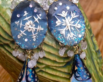 Lilygrace Snowflake Cameo Earrings with Opalite briolettes and Double Point Rock Crystals