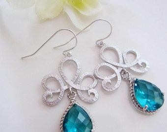 Teal Blue Earrings, Ocean Tropical Blue Earrings Silver Tiara Shaped Earrings, Bridesmaid Earrings, Wedding Jewelry