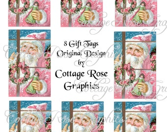 Pink Santa in the window Gift tag sheet Large digital download ATC ACEO gift tags ECS buy 3 get one free