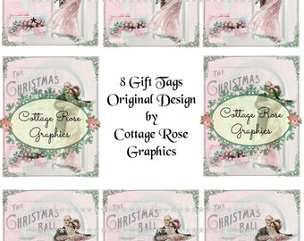 The Christmas Ball pink roses Gift tag sheet Large digital download ATC ACEO gift tags ECS buy 3 get one free
