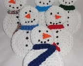 Snowman Scrubby , Kitchen Scrubber , Pot / Dish Scrubby , Multi - Colored Scarf  ds103