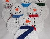 Snowman Scrubby , Kitchen Scrubber , Pot / Dish Scrubby , Multi - Colored Scarf  ds103