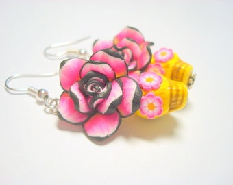 Sugar Skull Earrings Yellow, Black, and Pink Day of the Dead Roses and Skull Jewelry