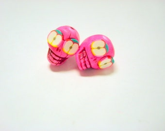 Apple of My Eye Pink Day of The Dead Sugar Skull Beads-12mm