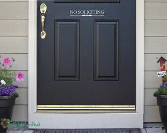 NO SOLICITING Front Door - Door Decal - Porch Decal - Vinyl Lettering - Vinyl Decals -  Vinyl Wall Art Words Text Door Sticker Decal 1618