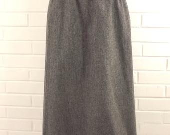 Vintage 70' Light Gray Wool Skirt, Small Medium