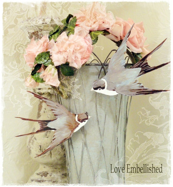 Pair Sweet Bird Clothespins Clips Swallows Gifts Wedding Birthday Decoration Jeanne d Arc Inspired Clothes Pins Shabby Farmhouse Chic