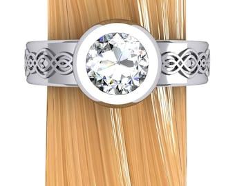 Diamond Engagement Ring, Low Profile 3/4 Carat Diamond Engagement Ring in White Gold, Platinum, or Palladium