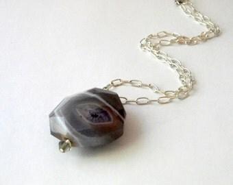 Purple Agate Stone Chain Necklace 18 Inch
