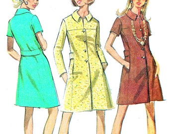 1970s Dress Pattern McCalls 2008 Mod Front Button Yoked A Line Coatdress Womens Vintage Sewing Pattern Bust 32 1/2