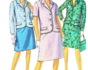1960s Womens Suit Pattern Simplicity 6893 A Line Skirt Short or Long Sleeve Three Button Blazer Vintage Sewing Pattern Plus Size Bust 41