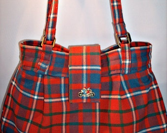 Preppy Plaid Purse in Red and Blue