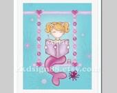 Mermaid art, sea nursery art, baby girls room decor, children wall art, ocean, blonde 8x10
