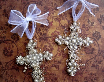 Unique Wire-wrapped Cross Ornament Wall Cross - Pearl - Christmas  Ornament - Wedding - Easter - Small Cross