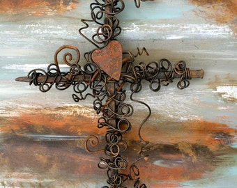 Rustic Cross - Rustic Nail Cross - Rusty Heart - Rusty Wire Cross - Baptism Gift - Confirmation Gift