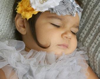 Baby headband, Newborn Headband, Baby Girl Headband,Shabby chic Headband, Baby Headbands, Yellow Grey baby Headband,Shabby Chic Headband
