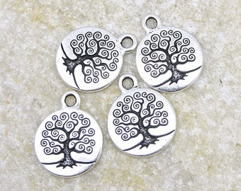 Silver Tree of Life Charms Antique Silver Charms TierraCast Tree of Life Bodhi Tree Zen Yoga Charms for Meditation Jewelry Woodland  (P783)
