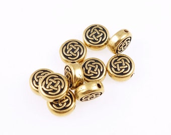 Celtic Beads - Small Celtic Circle Beads - Antique Gold Beads - TierraCast Knotwork Knot Work Irish Metal Beads (P386)