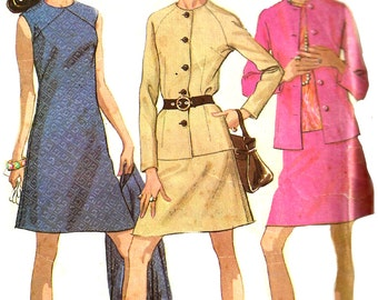 1960s Dress Pattern Skirt Half Size McCall's Vintage Sewing Jacket Blouse Women's Misses Size 14 . 5 Bust 37 Inches