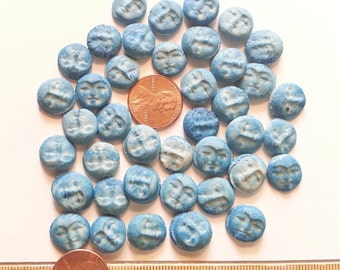 10 blue moon ceramic face cabochons HM stoneware clay soft rustic blue porcelain flat beads DIY scrapbooking ACEO jewelry collage
