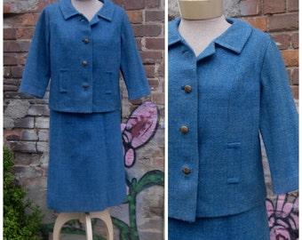Vintage 1960's Blue Tweed Wool Suit Amy Adams Pencil Skirt Jackie Kennedy Era Medium