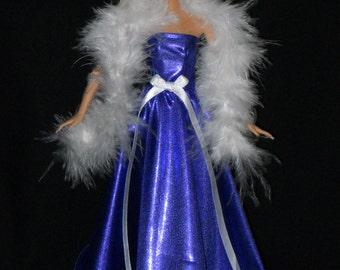 Barbie Doll Dress Handmade Shiny Dark Purple Gown with White Boa